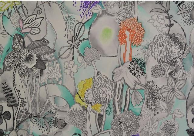 Missoni Home Dreamland Wallpaper Aqua Violet Gray