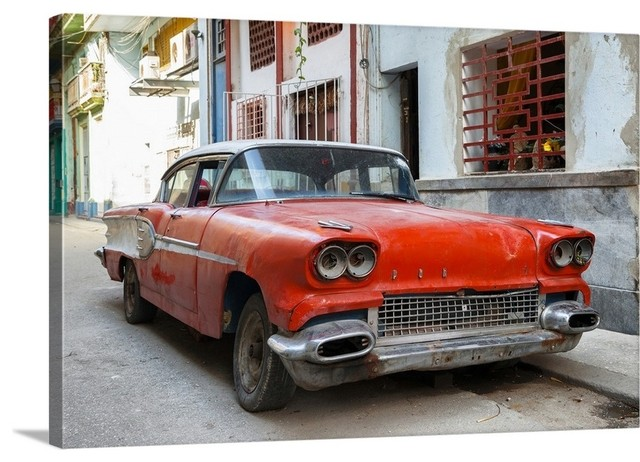 Cuba Fuerte Collection - Red Car of Havana Wrapped Canvas Art Print, 48