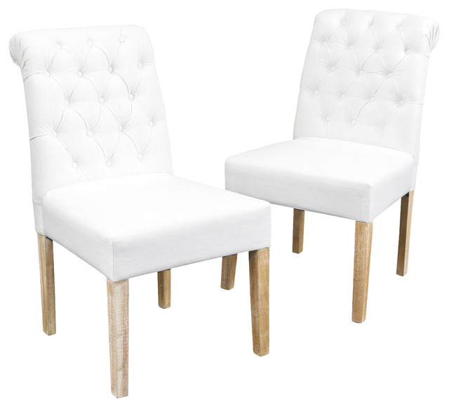 Charmant Elmerson Roll Back Dining Chairs, Set Of 2, White