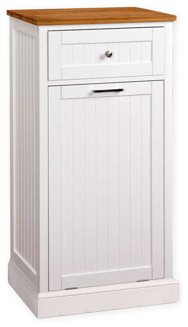 Microwave Kitchen Cart With Hideaway Trash Can Holder Transitional Kitchen  Islands And