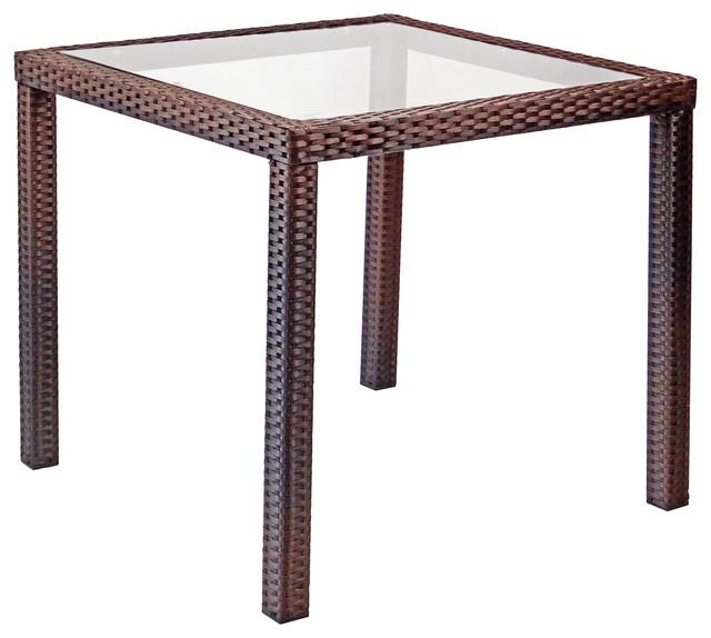 Patio Dining Table, Square, Dark Brown.