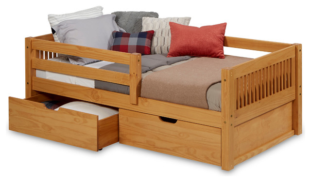 Shalbert Daybed With Guardrail And Drawers, Natural, Twin.