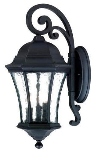 "19"" Tall Black Outdoor Wall Mount-Light, Clear Hammered Water Glass."
