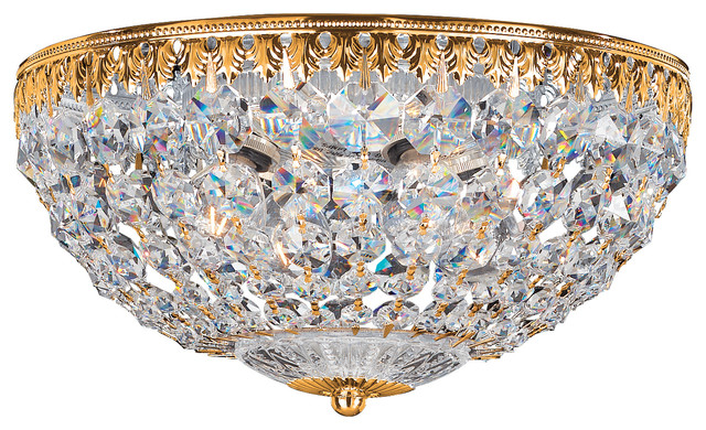 Petit Crystal 5-Light In Rich Auerelia Gold, Clear Spectra Crystal.