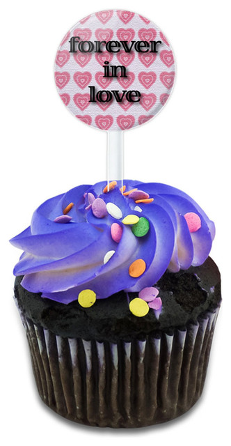 Forever In Love On Pink Hearts Pattern Cupcake Toppers Picks Set.