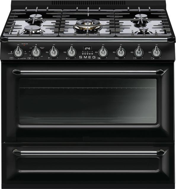 Smeg 36&x27;&x27; Victoria 5 Burner Freestanding All-Gas Range, Glossy Black.