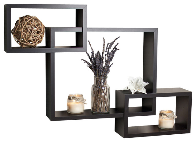 Contemporary Floating Wall Shelves intersecting wall shelf, espresso finish - contemporary - display