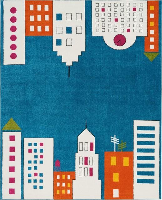Nourison Miles Kids Area Rug, 8&x27;x10&x27;, Blue.