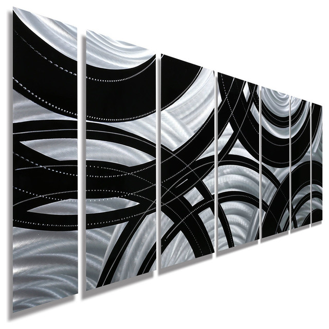 """Contemporary Silver And Black Panel Metal Wall Art, """"crossroads"""", 68""""x24""""x2""""."""