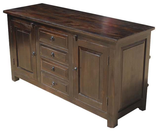 Shaker Rustic Wood Buffet 4 Drawer Storage Sideboard Cabinet - Rustic - Buffets And Sideboards ...