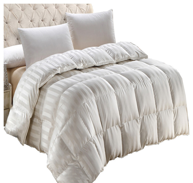 baffle box silk 900tc stripe cream down comforter 550 fp contemporary comforters and. Black Bedroom Furniture Sets. Home Design Ideas