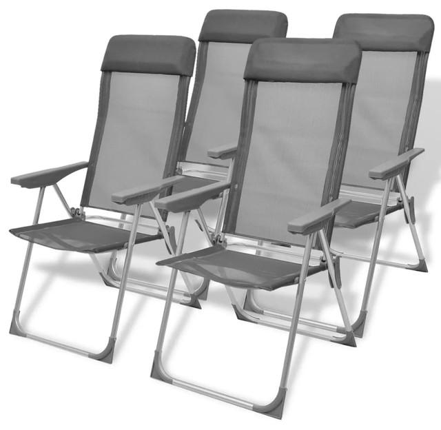 VidaXL 4x Camping Chairs Aluminum Folding Gray Reclining Camp Outdoor Seat