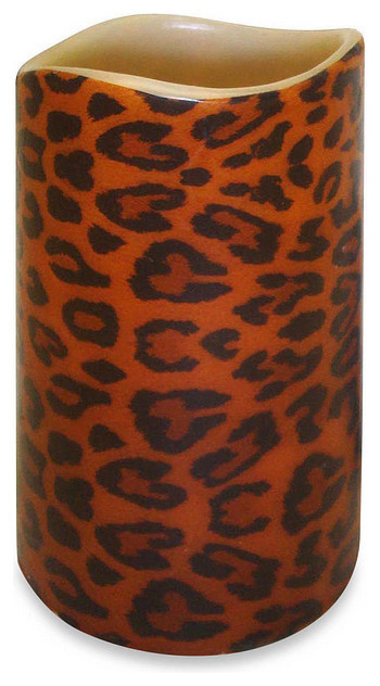 Leopard Print Flameless Led Flickering Pillar Candle With Remote 6 75