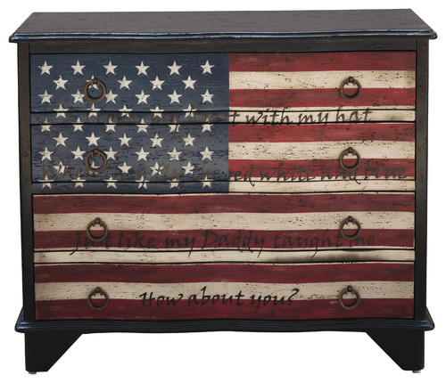 Traditional Styled Hand Painted Lyrics Wood Chest With