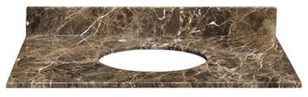 """Stone Top, 31"""" For Undermount Sink With Backsplash, Dark Emperador Marble."""