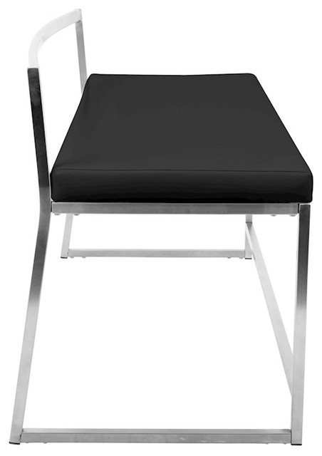 LumiSource Fuji Dining or Entryway Bench, Black