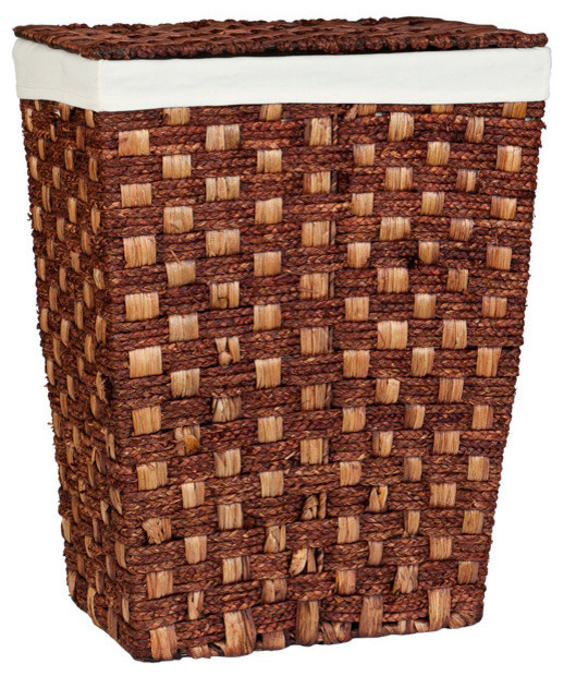 Woven Clothes Hamper With Lid, Espresso.