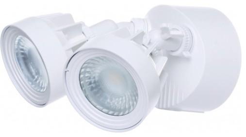 LED Security Light, Dual Head, White Finish, 4000K, 2000 Lumens