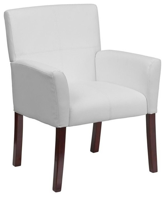 Scranton And Co Leather Executive Side Guest Chair White And