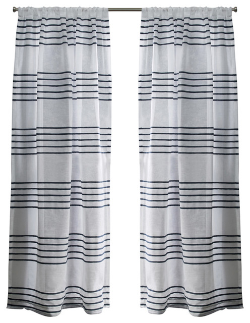 Monet Rod Pocket Top Curtains, Set Of 2, Indigo, 54x84.