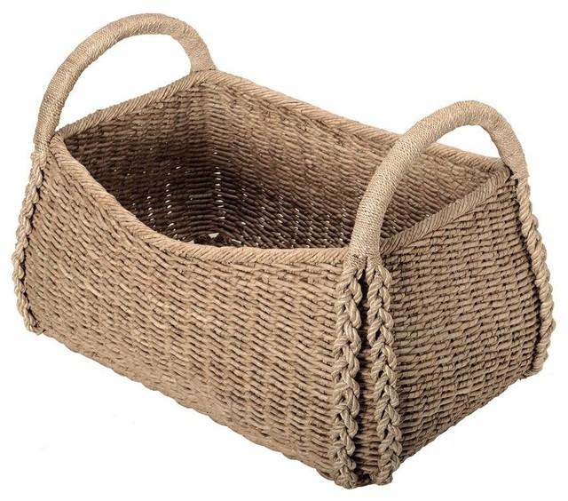 Large Sized Rectangular Sea Grass Basket tropical-baskets