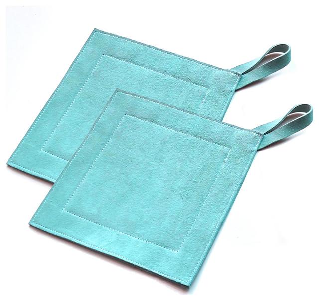 Genuine Leather Suede Kitchen Heat Protectors, Slate, Pot Holder, Set of 2