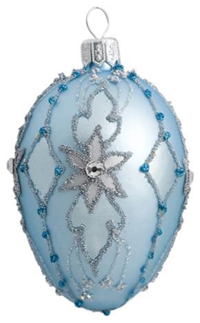 Ornate Powder Blue Oval Ornament
