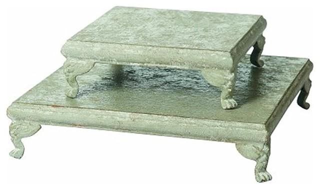 "Set Of 2, 11.75"" Square & 8square Metal Footed Pedestals, Cream."