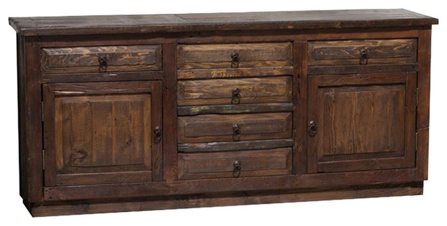 "Reclaimed Barnwood Vanity Double Sink, 72""x20""x32"", Left And Right Drawers False."