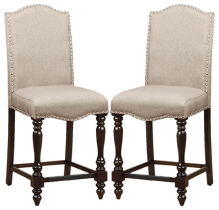 Counter Height Dining Chairs Linen Like Upholstered