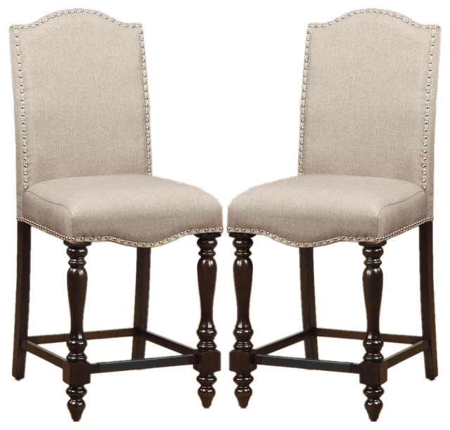 Counter Height Dining Chairs Linen-Like Upholstered Nailhead Trim Set of 2 traditional-  sc 1 st  Houzz & Counter Height Dining Chairs Linen-Like Upholstered Nailhead Trim ... islam-shia.org