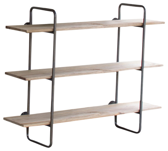 Three Tiered Metal Tube Frame With Wooden Shelves Industrial