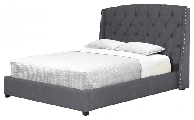 williamsburg tufted linen bed gray queen transitional platform beds