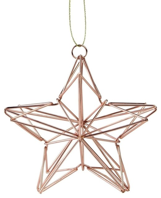 4 5 Rose Gold Geometric Wire Star Christmas Ornament