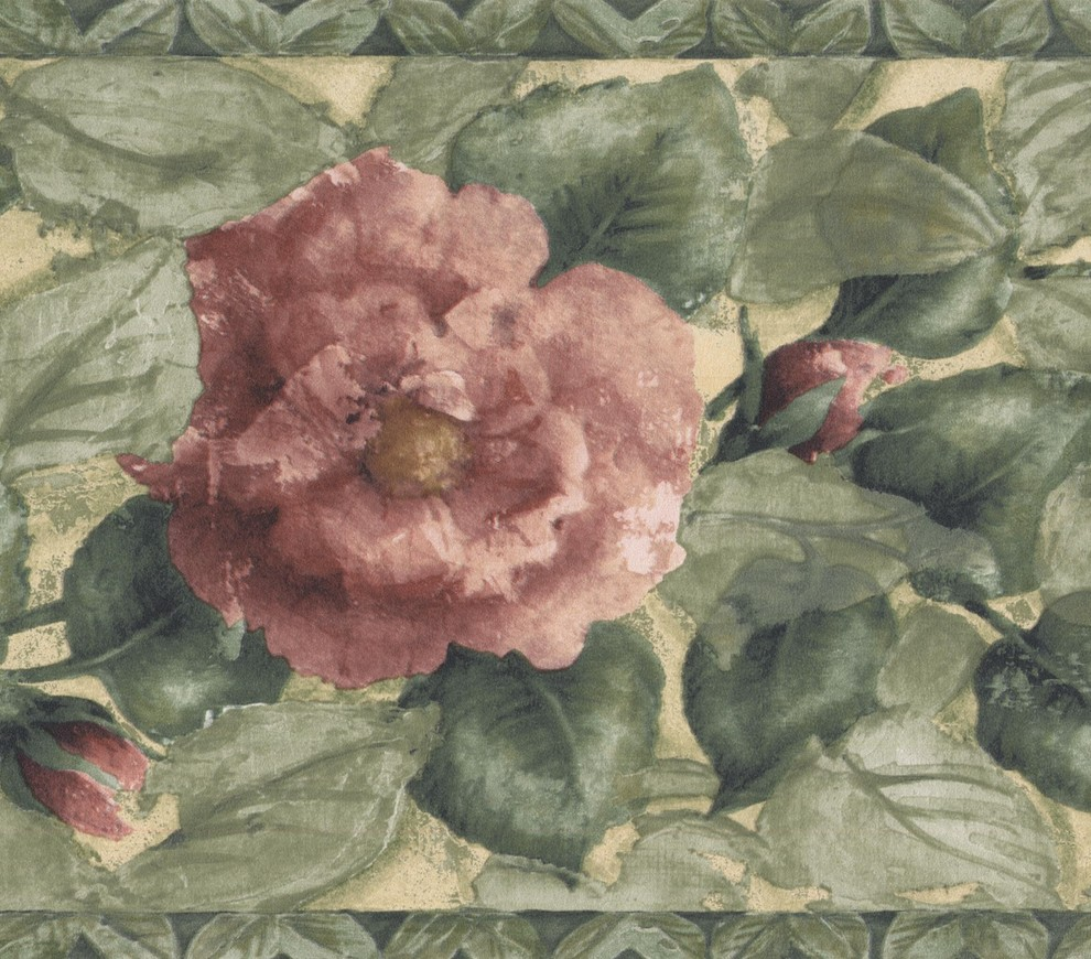 Pink Blooming Roses Green Floral Wallpaper Border Retro Design