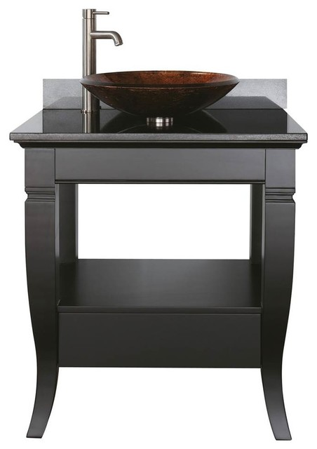 Single Bathroom Vanity Base Black Finish Transitional Bathroom Vanities And Sink Consoles