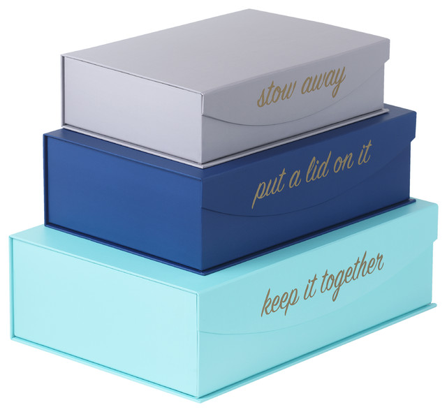 Magnetic Lid Storage Boxes -  Put a Lid On It  ...  sc 1 st  Houzz & Magnetic Lid Storage Boxes -