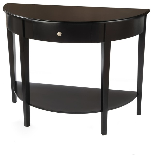 Large Half Moon/Round Hall Table With Drawer   Black
