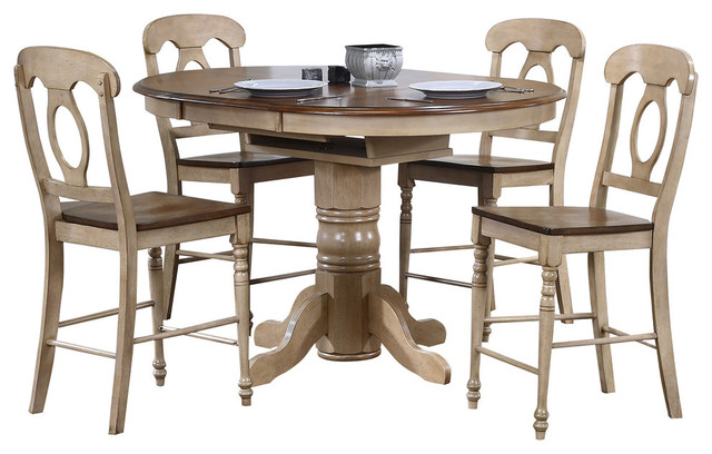 5 Piece Brook Round Or Oval Butterfuly Leaf Pub Table Set   Farmhouse    Indoor Pub And Bistro Sets   By Sunset Trading