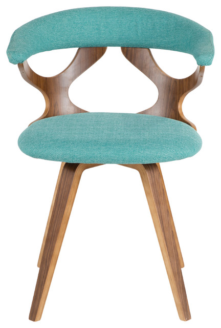 LumiSource Gardenia Accent Chair With Swivel, Walnut and Teal