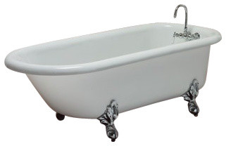 Regent White Clawfoot Tub With Chrome Feet, Wall Drilled Faucets.