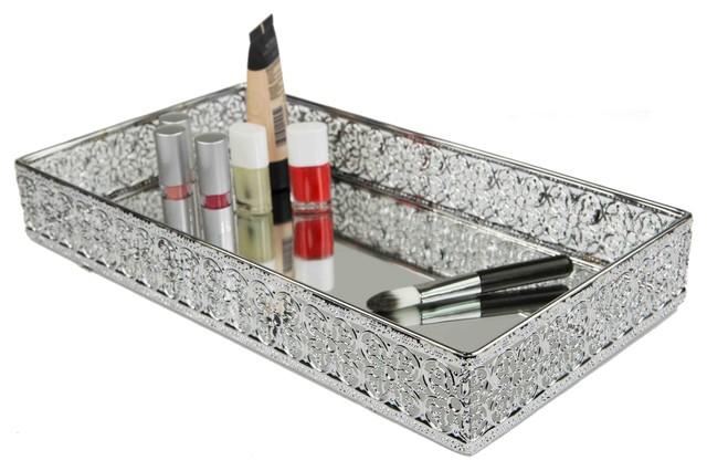 Home Basics Vanity Tray Mesh With Mirror.