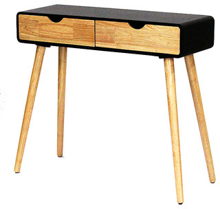Euro 2-Drawer Console Table, Black