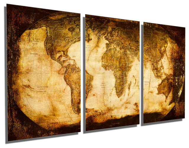 Delightful Rustic World Map Metal Print Wall Art 3 Panel Split, Triptych Wall Art,  48x24