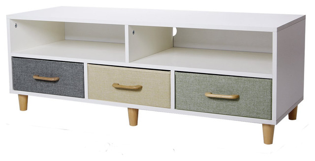 Lifewit Wood Tv Stand With 3 Drawers And 2 Shelves White