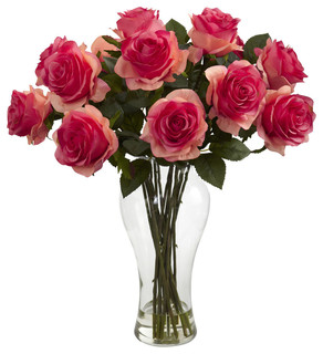Blooming Roses With Vase - Traditional - Artificial Flower ...