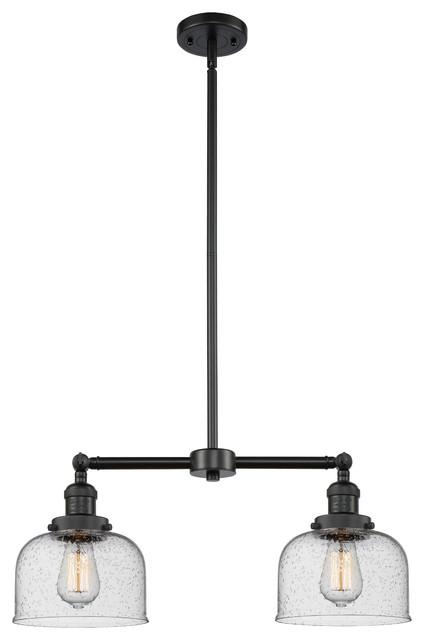 Large Bell 2-Light LED Chandelier, Matte Black, Glass: Seedy