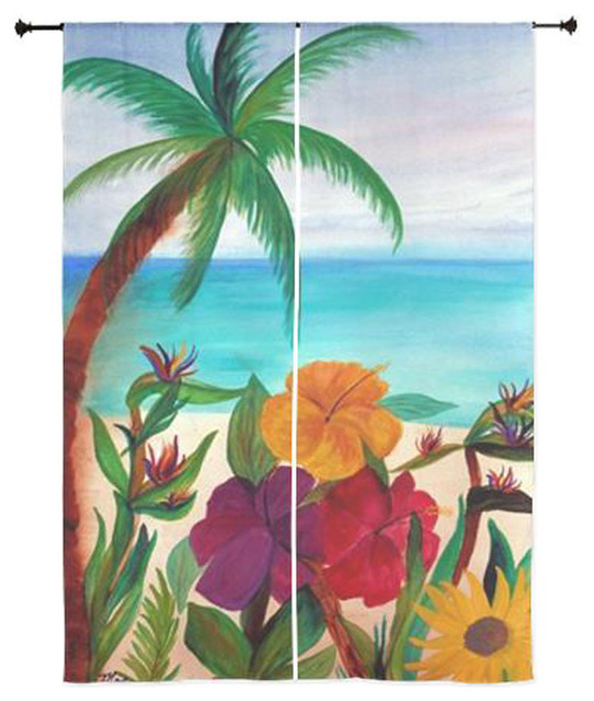 Palm Tree Tropical Sheer Curtains, Tropical Floral Beach Tropical Curtains