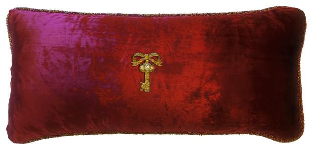 Burgundy Velvet Pillow With Gold Key Pin