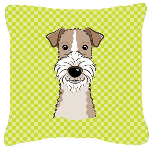 Checkerboard Lime Wire Haired Fox Terrier Canvas Fabric Decorative Pillow, Green